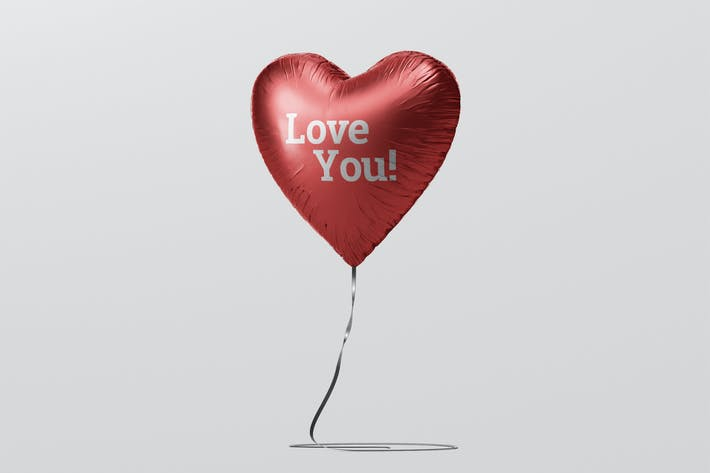 Cover Image For Valentine Heart Balloon Mockup
