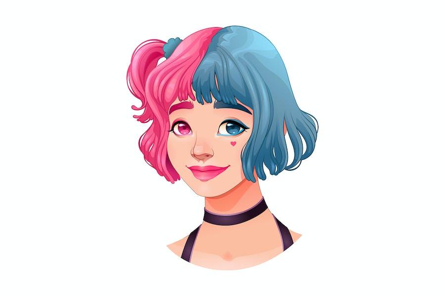 Молодая девушка с двумя цветами в волосах