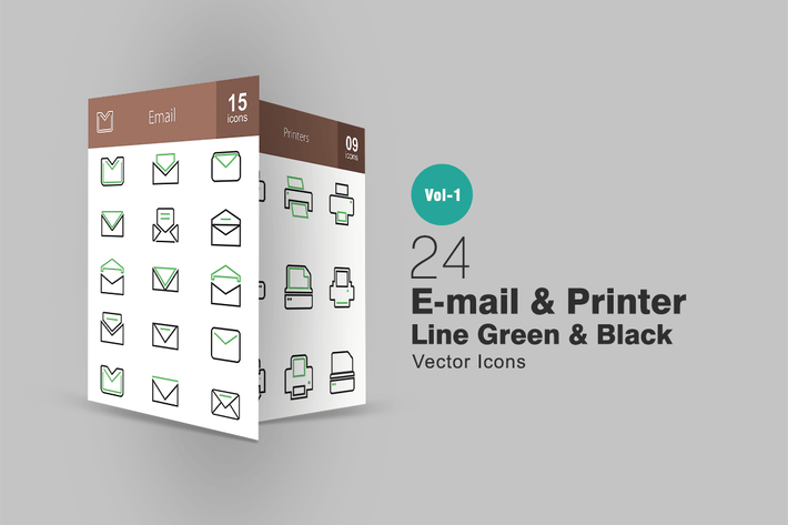 Thumbnail for 24 Email & Printer Line Green & Black Icons