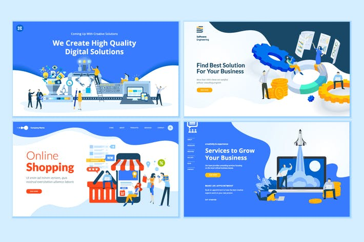 Thumbnail for Set of Web Page Design Templates