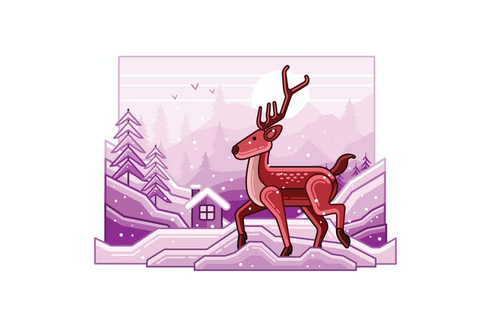 Thumbnail for Winter Landscape with Deer Line Illustration