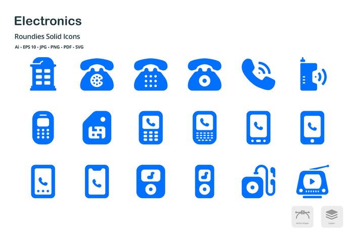 Thumbnail for Electronics Roundies Solid Glyph Icons