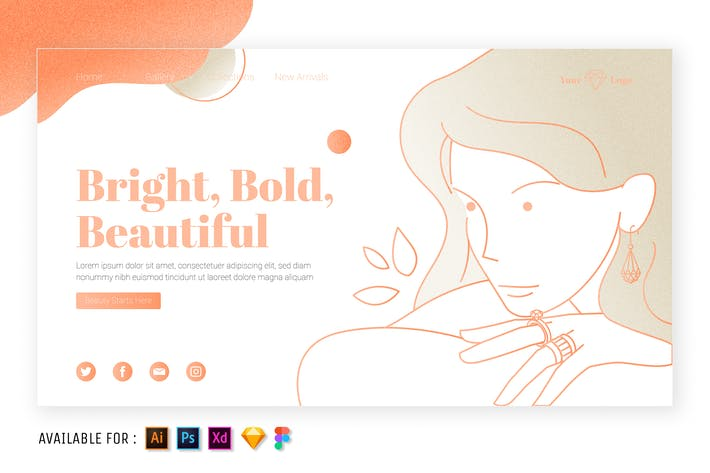 Thumbnail for Woman and her Jewelry - Web Outline Illustration