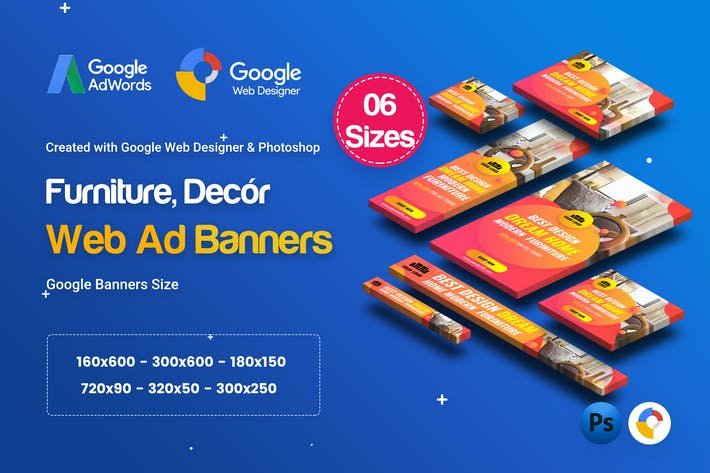 Thumbnail for C01 - Furniture, Decor Banners Ad GWD & PSD