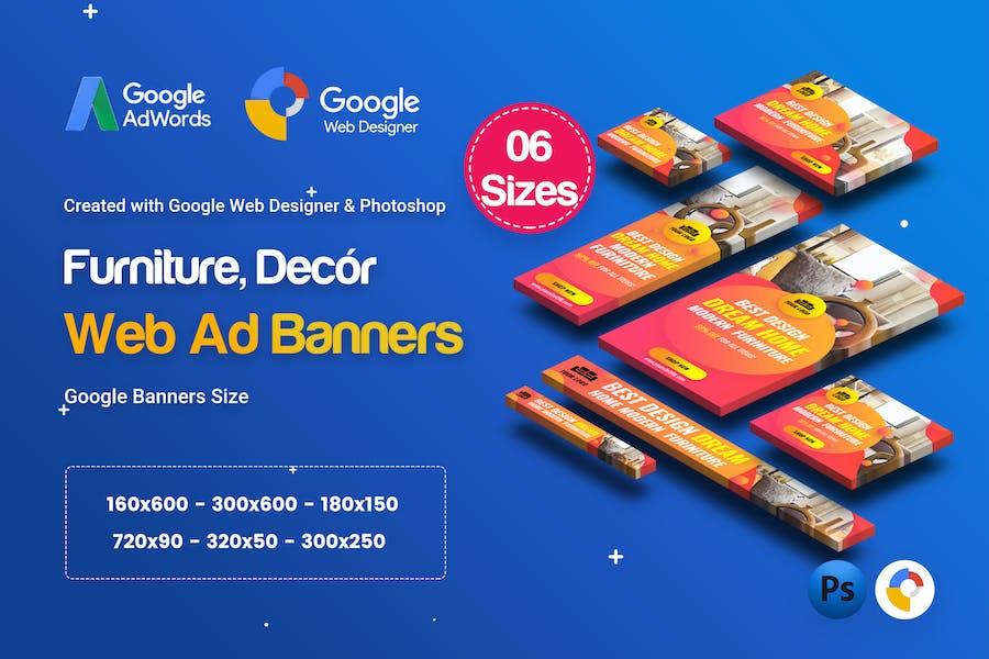 C01 - Furniture, Decor Banners Ad GWD & PSD