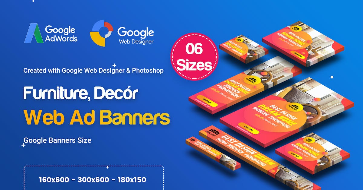 Download C01 - Furniture, Decor Banners Ad GWD & PSD by iDoodle
