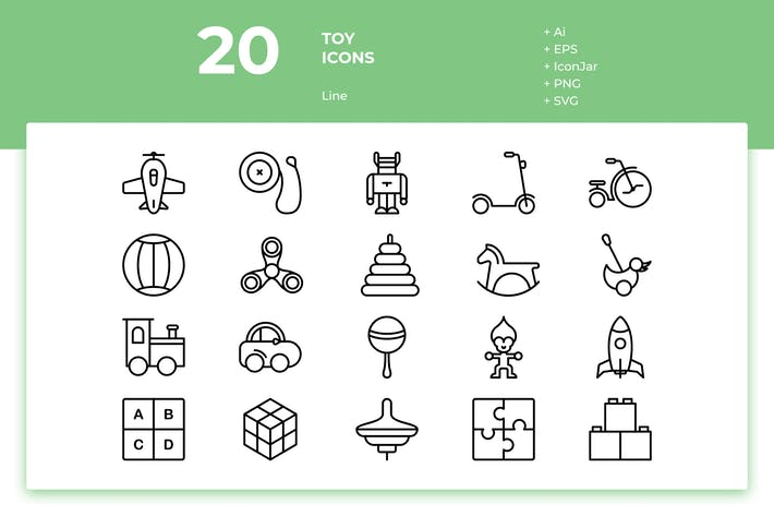 Thumbnail for 20 Toys Icons (Line)