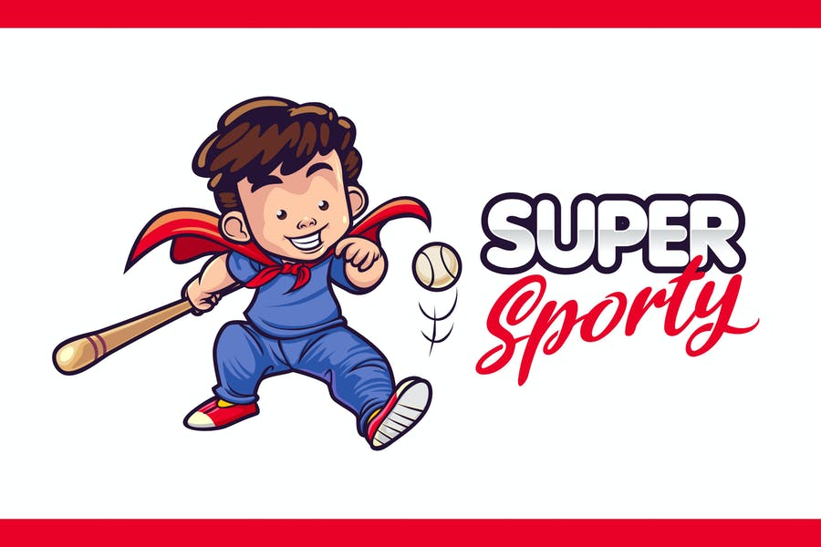 Super Baseball Little Boy Character Mascot Logo
