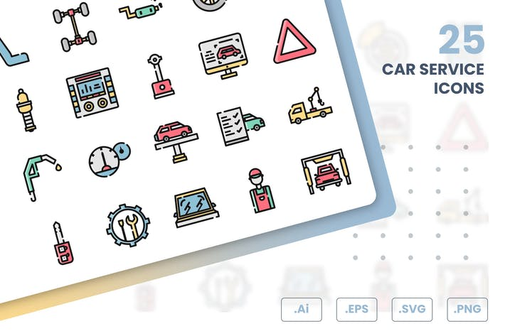 Thumbnail for Car Service Icons Set