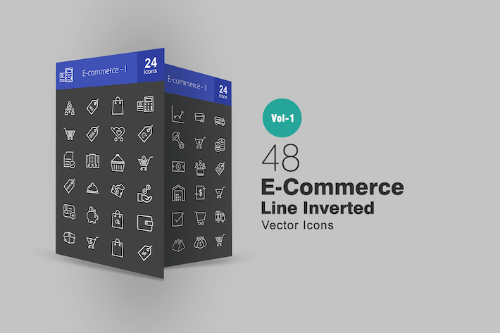 Cover Image For 48 Ecommerce Line Inverted Icons