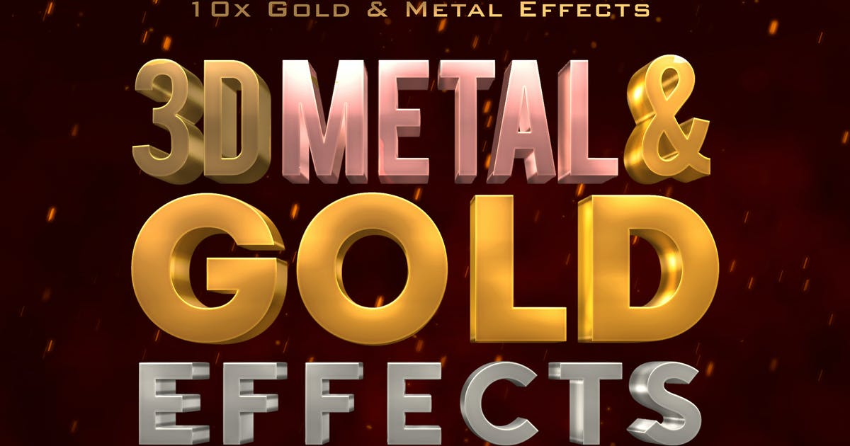 3D Metal & Gold Effects by designercow on Envato Elements
