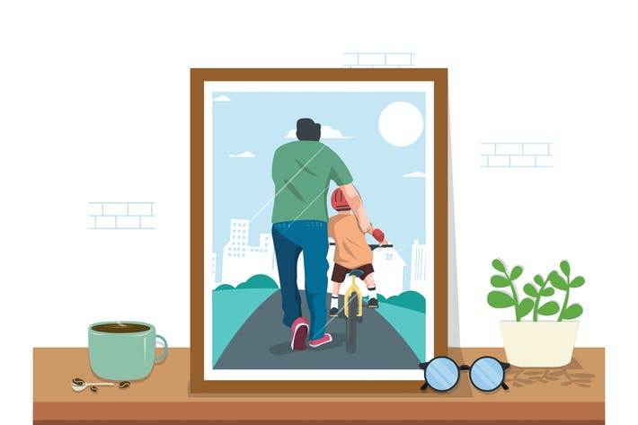 Father & Son Activity  - Vector Illustration