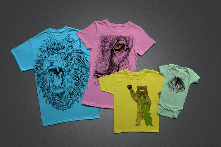 Thumbnail for T-Shirt Mock-Ups - Family Pack