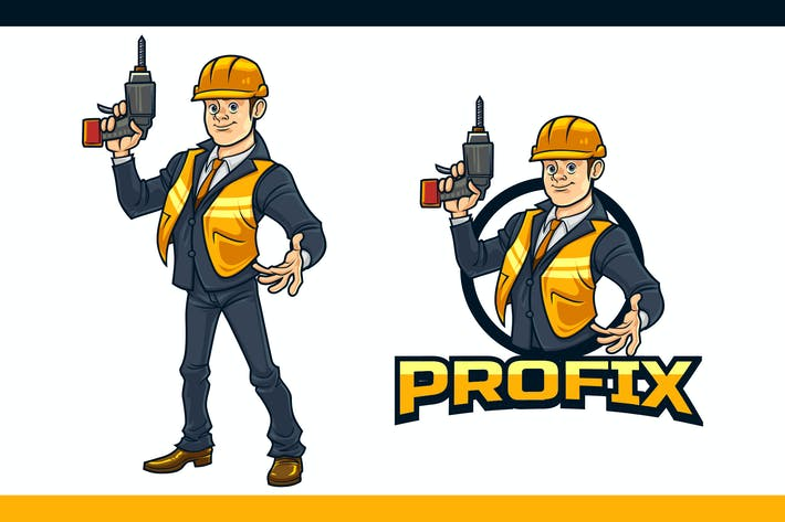 Thumbnail for Cartoon Professional Handyman Mascot Logo