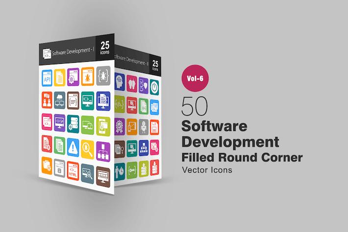 Thumbnail for 50 Íconos de esquina redonda llena de desarrollo de software