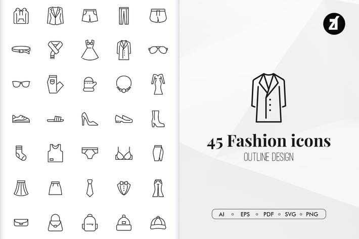Thumbnail for 45 Fashion elements in minimal design