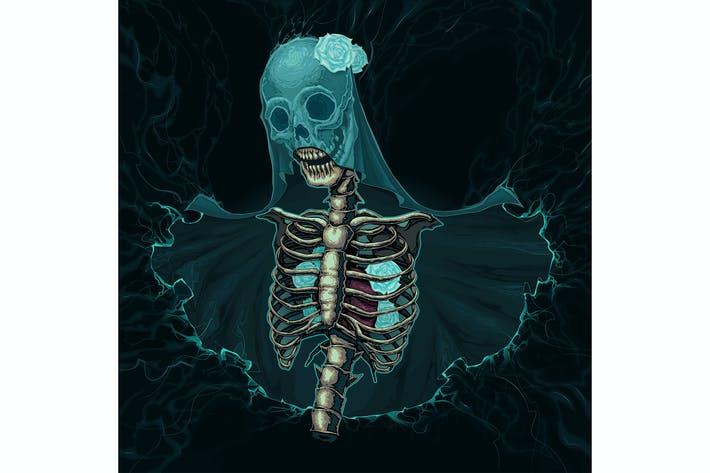 Thumbnail for Skeleton with Veil and White Roses
