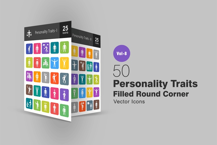 Thumbnail for 50 Personality Traits Filled Round Corner Icons