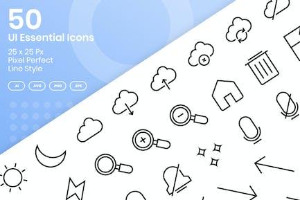 50 UI Essential Icons Set - Line