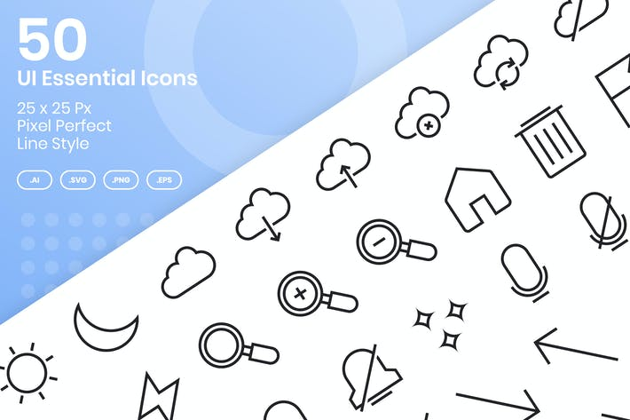 Thumbnail for 50 UI Essential Icons Set - Line
