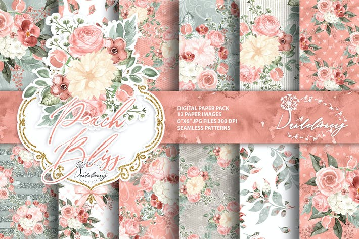Thumbnail for Watercolor Peach Bliss digital paper