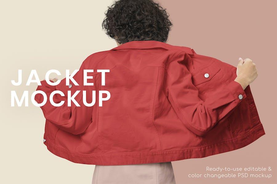 Women Wearing Denim Jacket Mockup
