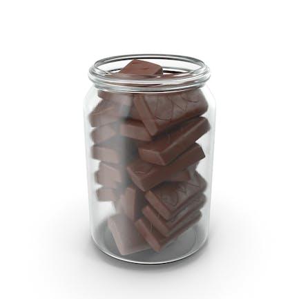 Jar with Sponge Cakes in Crisp Chocolate Cover