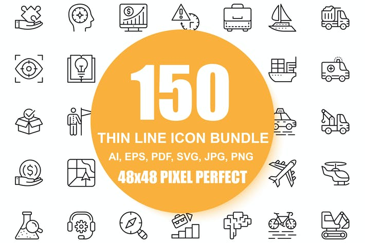 Thumbnail for 150 Line Icons