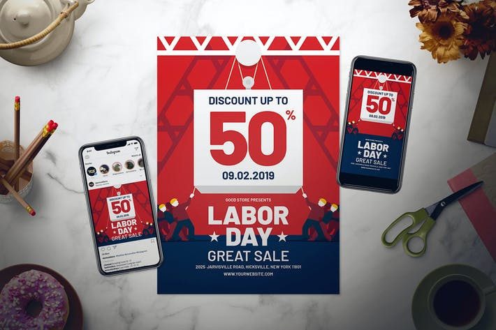 Thumbnail for Labor Day Sale Flyer Set