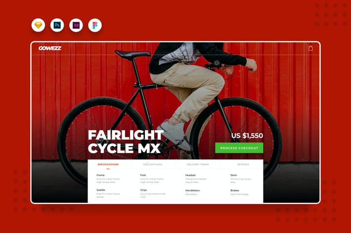 Thumbnail for DailyUI.V5 Bike Product Detail Website Landing