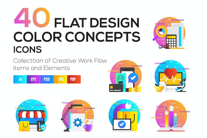 Cover Image For Set of Modern Flat Multi Color Conceptual icons