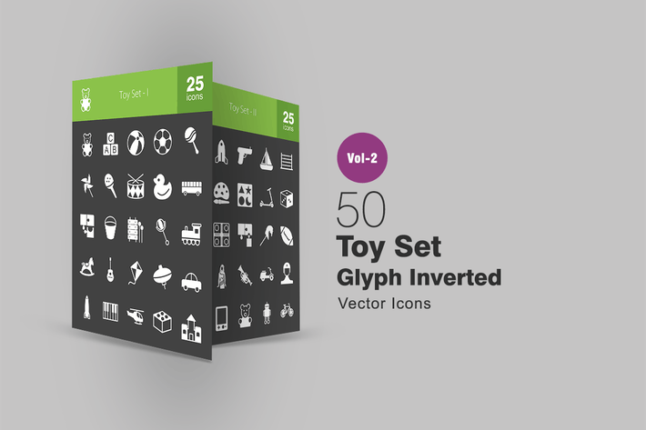 Thumbnail for 50 Toy Set Glyph Inverted Icons