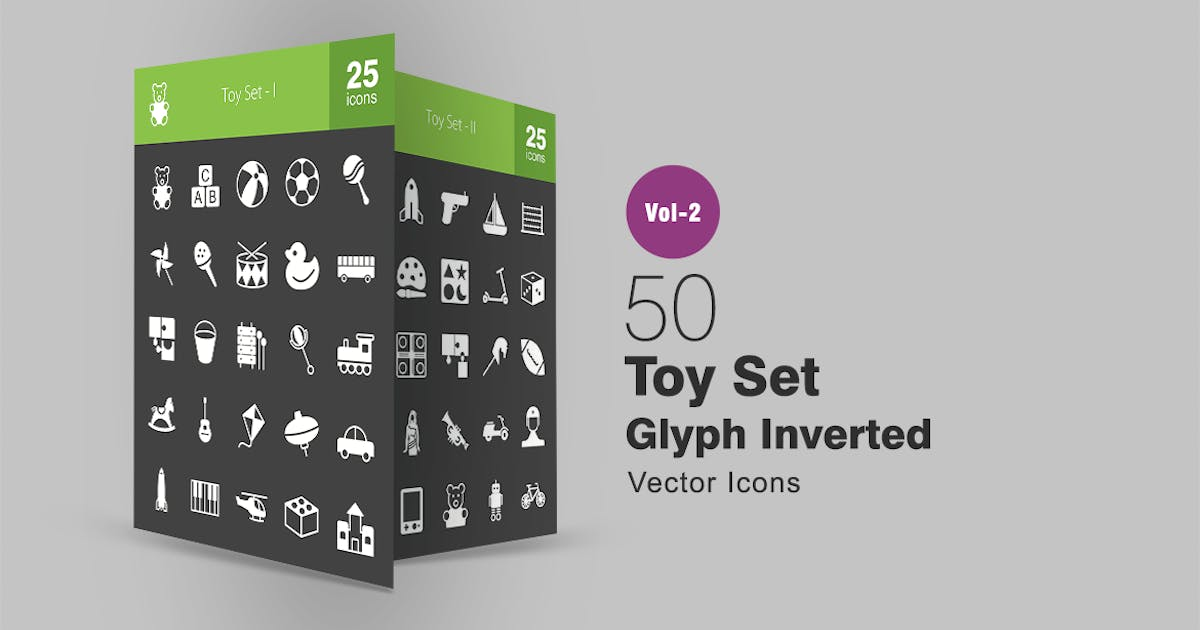 Download 50 Toy Set Glyph Inverted Icons by IconBunny