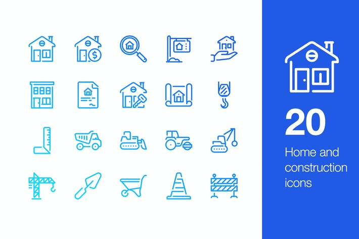 Thumbnail for 20 Home and construction icons