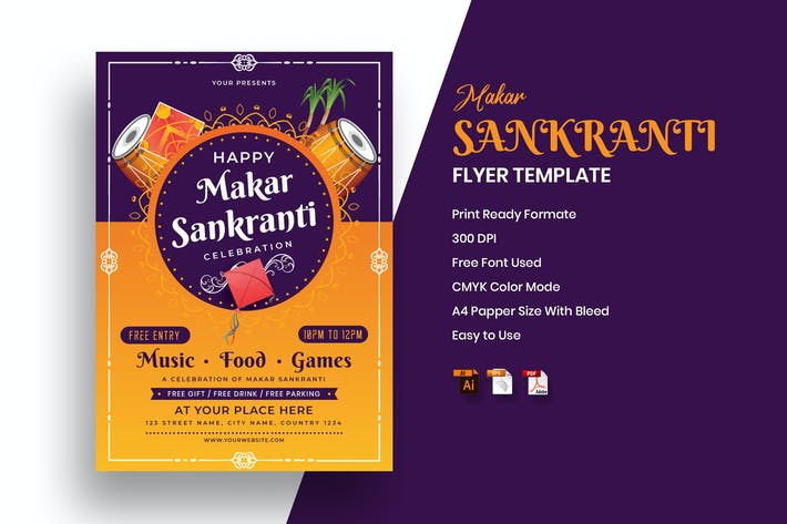 Thumbnail for Makar Sankranti Festival Flyer Template
