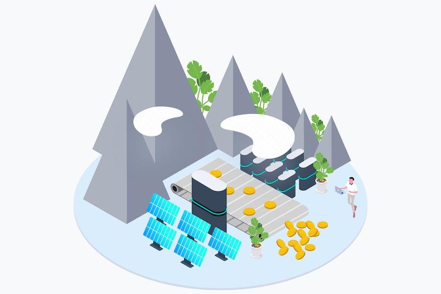 Green Energy Mining Cryptocurrency Isometric
