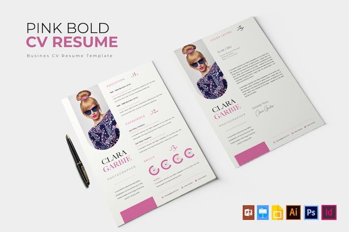 Thumbnail for Pink Bold | CV & Resume