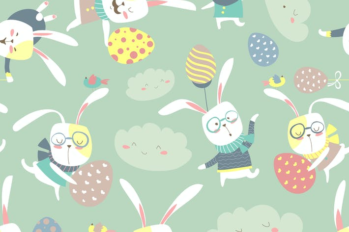 Thumbnail for Easter bunnies and easter eggs seamless pattern