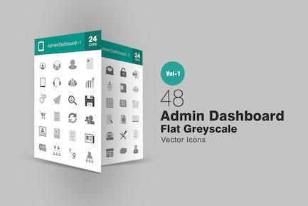 48 Íconos de escala de grises Panel de control de administración
