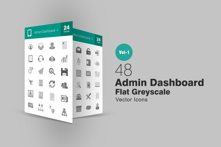 Thumbnail for 48 Admin Dashboard Greyscale Icons