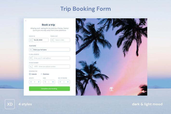 Thumbnail for Trip Booking Form UI