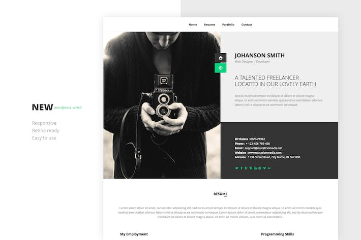 Thumbnail for NEW Retina Ready WordPress Vcard Theme