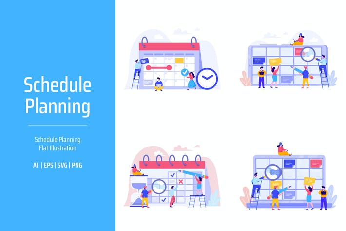 Thumbnail for Schedule Planning Flat Illustration