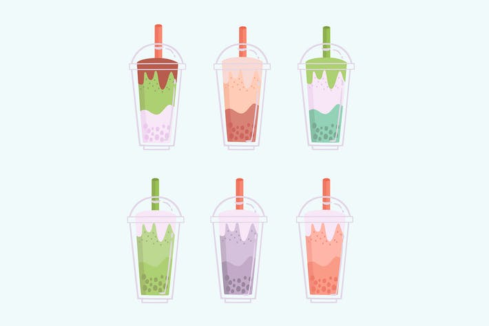 Thumbnail for Bubble Tea Hand Drawn Flavors Collection
