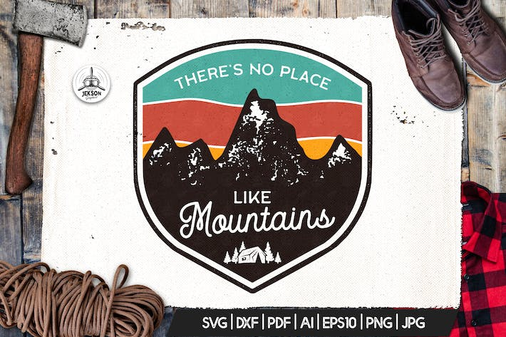 Thumbnail for Mountains Logo, Retro Adventure Badge T-Shirt