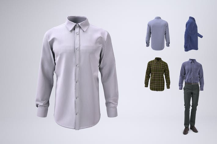 Thumbnail for Men's Long Sleeve Dress Shirt Mock-Up