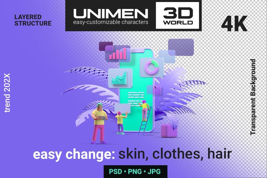 3D Ui UX Design Mobile phone Smartphone scene
