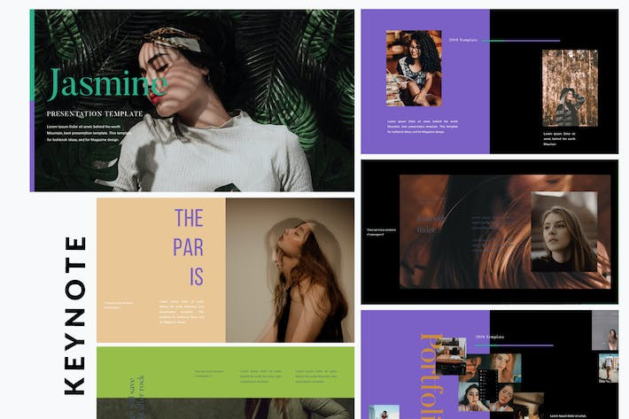 Thumbnail for Jasmine Dark Lookbook - Fashion Keynote Template