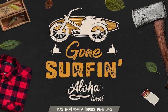 Thumbnail for Surfing Retro Graphics Prints TShirt, Summer Badge