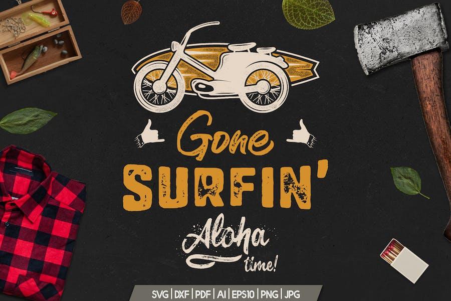 Surfing Retro Graphics Prints TShirt, Summer Badge